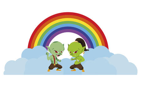 ugly trolls with rainbow magic characters vector illustration design 向量圖像