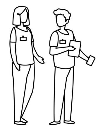 couple medicine workers with uniform characters vector illustration design Illustration