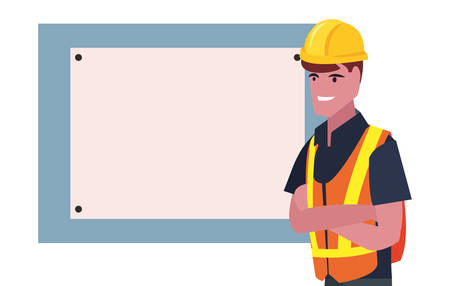 construction worker board vector illustration design image Ilustração