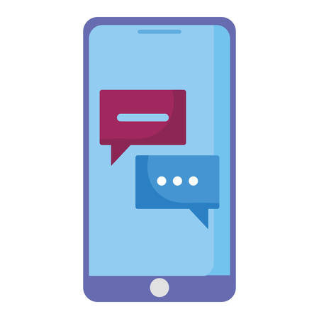 smartphone with speech bubble icon vector illustration design