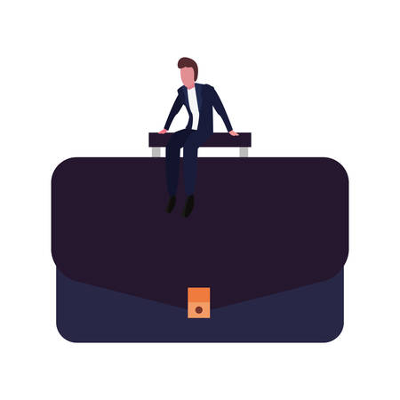 businessman sitting on suitcase on white background vector illustration