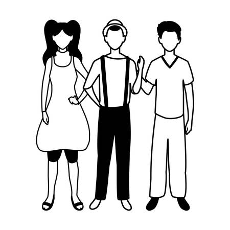 group of people faceless with different poses on white background vector illustration design