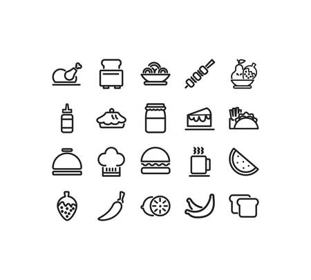 icon set pack design, food drinks eat restaurant menu dinner lunch cooking and meal theme Vector illustration Ilustração