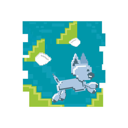 video game pixelated robotic dog jumping vector illustration design