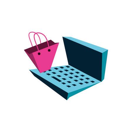 shopping bag with laptop computer vector illustration design Stock Vector - 134755145