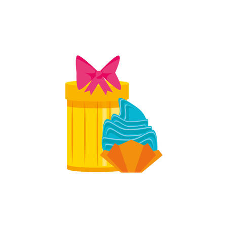 sweet cupcake with gift box vector illustration design
