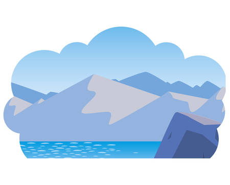 lake and mountains scene vector illustration design  イラスト・ベクター素材