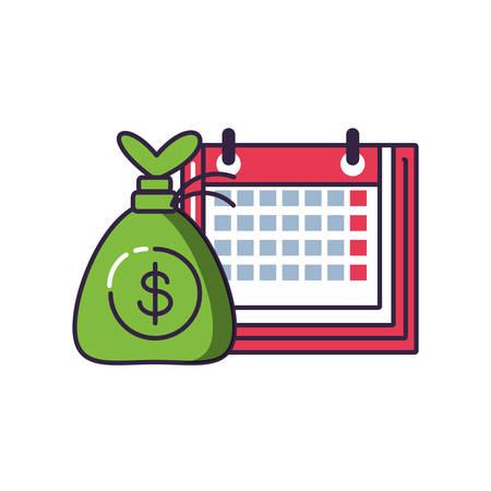calendar reminder with money bag vector illustration design Illustration