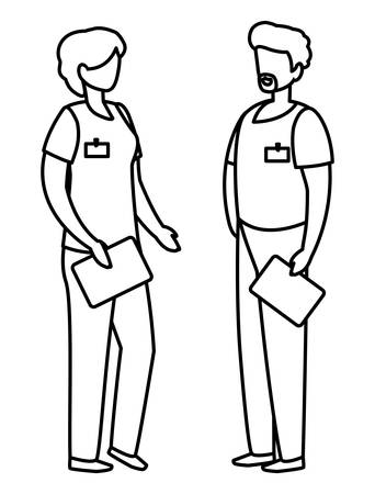 couple medicine workers with uniform characters vector illustration design 일러스트