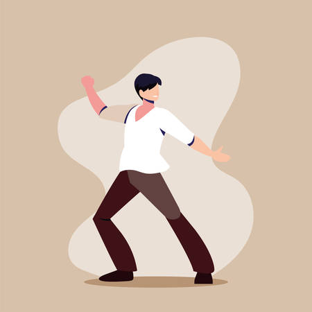 young man in pose of dancing, party, dancing club vector illustration design