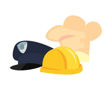 hats builder chef police labour day vector illustration