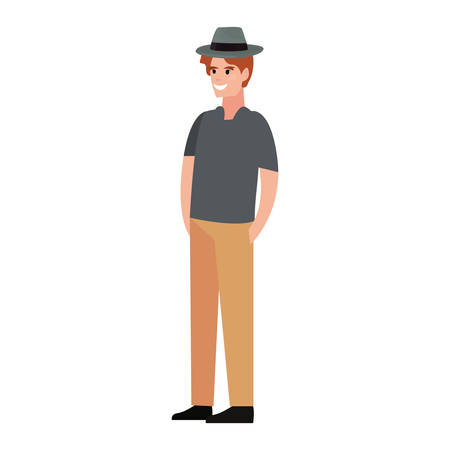 man wearing hat happy fathers day vector illustration