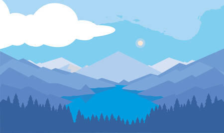 mountains with forest and river snowscape scene vector illustration design