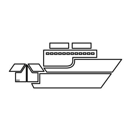 ship cardboard box transport delivery vector illustration