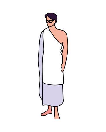 man pilgrim hajj standing on white background vector illustration design Illusztráció