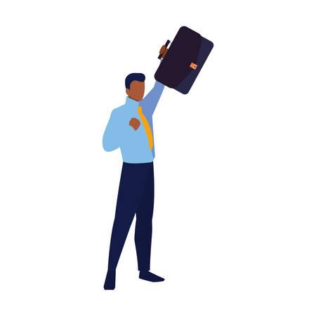 successful businessman office suitcase vector illustration design