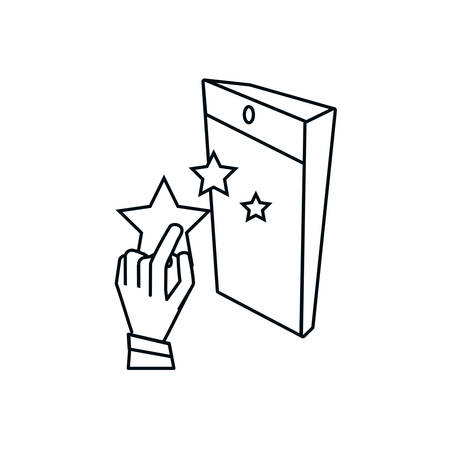 hand with cute stars and smartphone device vector illustration design