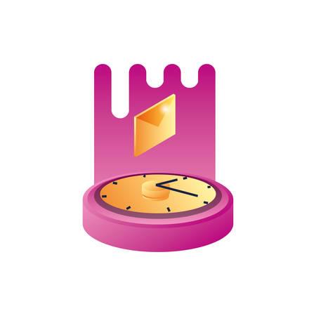 time clock with envelope mail vector illustration design  イラスト・ベクター素材