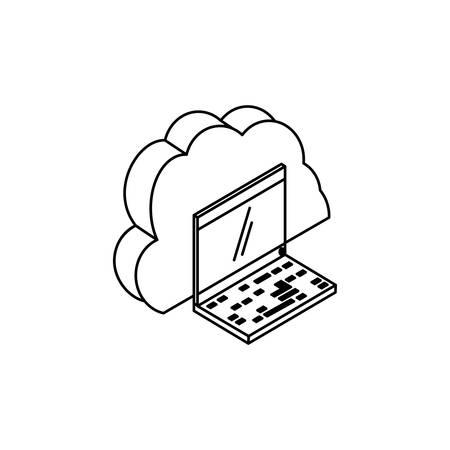laptop computer with cloud computing vector illustration design