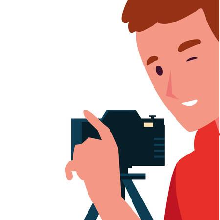 Man with camera design, Device gadget technology photography equipment digital and photo theme Vector illustration Illusztráció