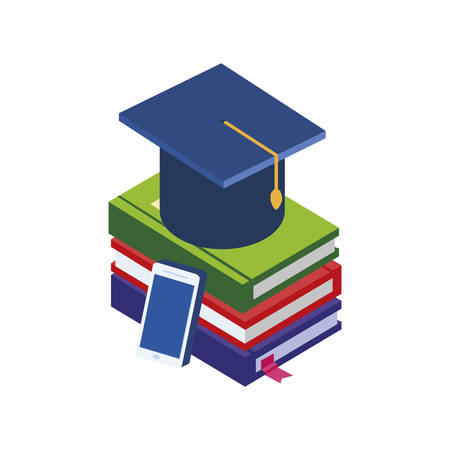 pile text books with smartphone vector illustration design