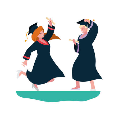 beautiful women students graduated celebrating vector illustration design