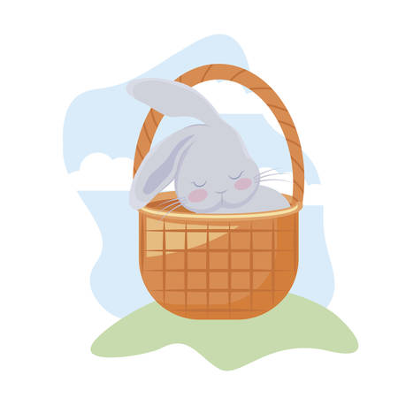 cute rabbit with basket wicker in grass vector illustration design