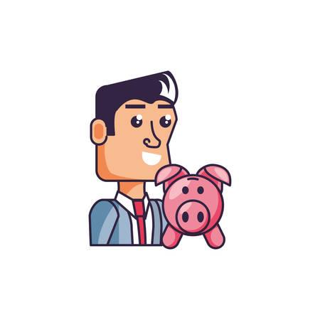 businessman elegant with piggy bank vector illustration design Standard-Bild - 134803536