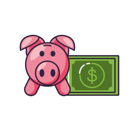 piggy bank with bill dollar vector illustration design