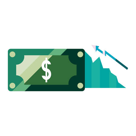banknote graph economy profit report vector illustration