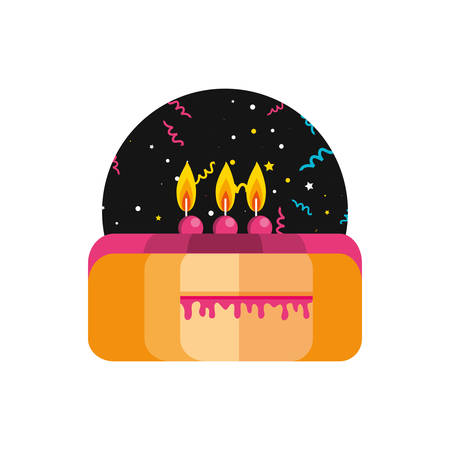 sweet cake of birthday with candles vector illustration design Foto de archivo - 134806619