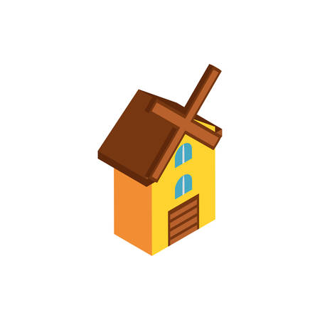 house building with mill, renewable energy on white background vector illustration design Ilustrace