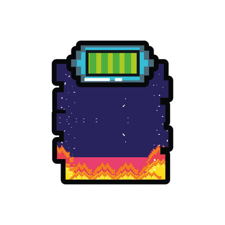 battery power video game stage scene pixelated vector illustration design