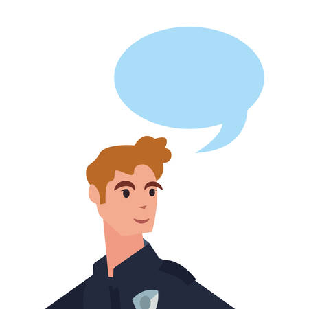 policeman portrait character speech bubble vector illustration