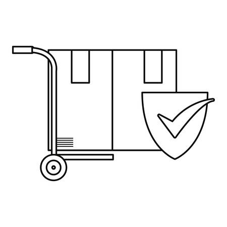 handcart with cardboard boxes check mark delivery vector illustration