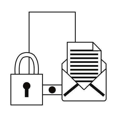 smartphone email padlock security cybersecurity data protection vector illustration outline