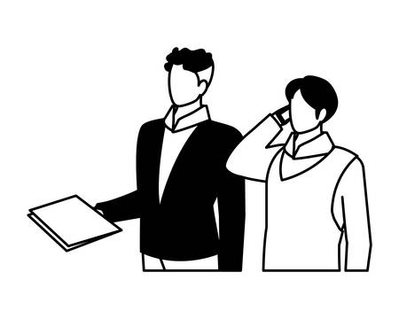 cute businessmen with various views, poses vector illustration design Illustration