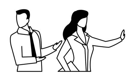 business couple faceless on white background vector illustration design