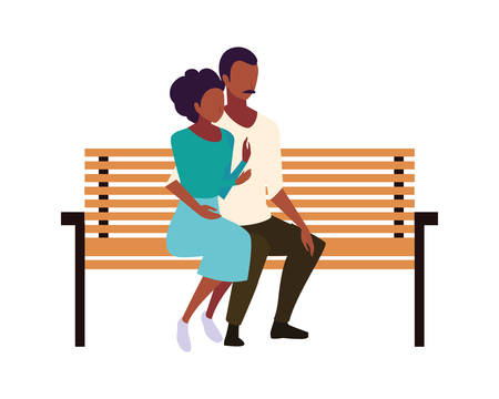 couple of people in love sitting in the park chair on white background vector illustration design Çizim