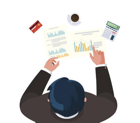 businessman working with supplies air view vector illustration design