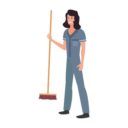 street sweeper woman profession labour day vector illustration