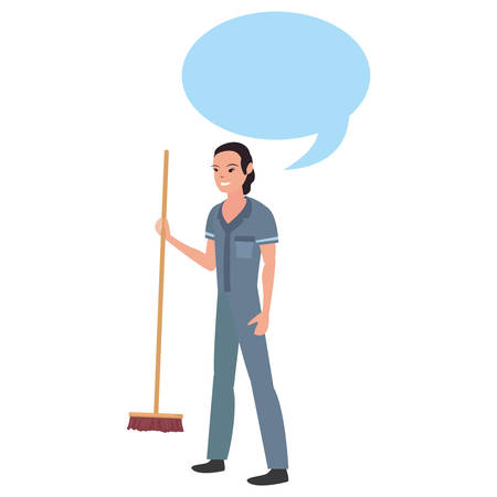 street sweeper woman profession labour day vector illustration design