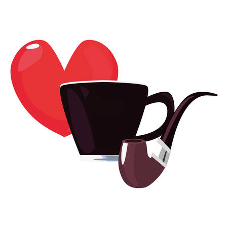 coffee cup pipe heart love happy fathers day vector illustration