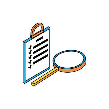 search magnifying glass with checklist vector illustration design