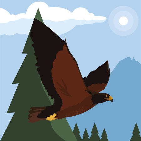 beautiful eagle flying in the landscape majestic bird vector illustration design Ilustracja