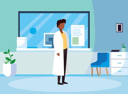 afro male medicine worker in clinic reception vector illustration design