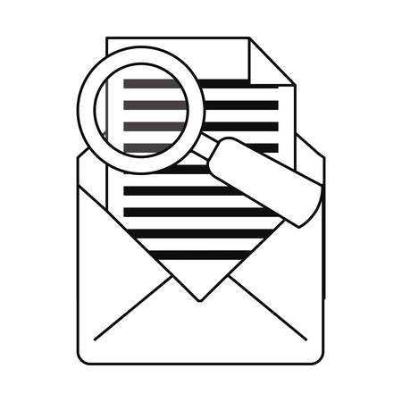 email analysis cybersecurity data protection vector illustration outline