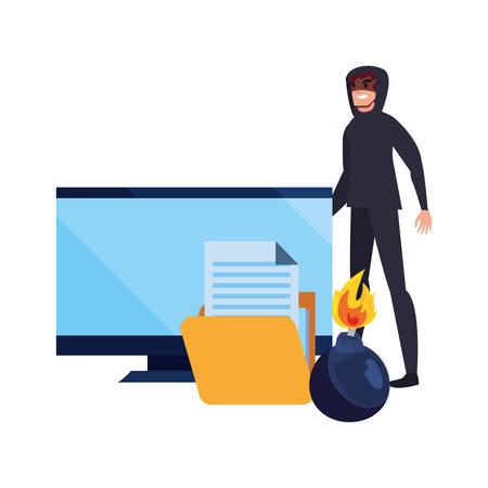 hacker man computer folder danger cybersecurity data protection vector illustration