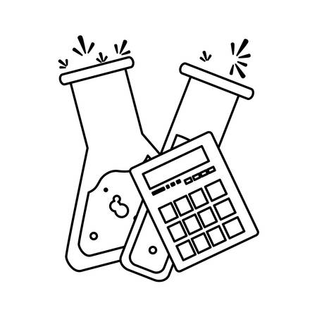 tube test and calculator math vector illustration design