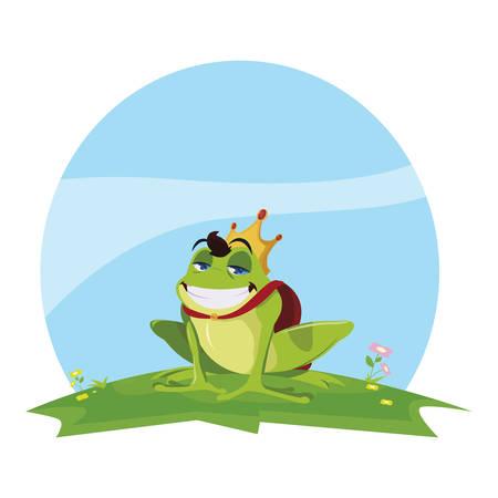 toad prince in garden fairytale character vector illustration design Ilustração